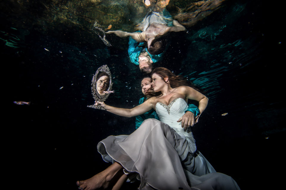 Fearless bridal underwater - Heather and Dan