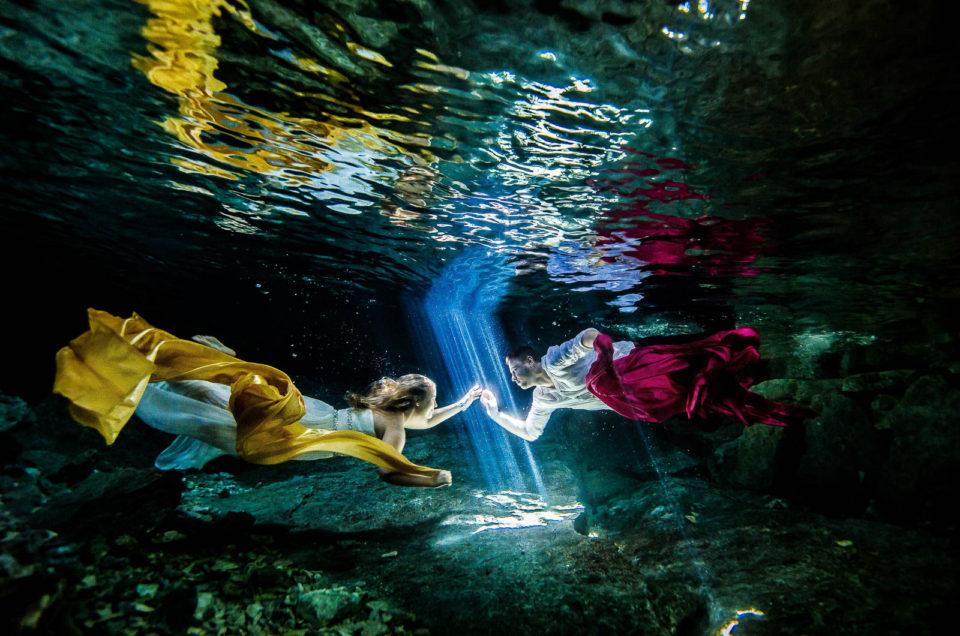 Newlyweds underwater - Eliza and Damian