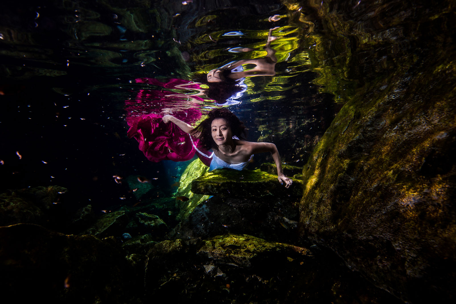 Underwater shooting Mexico cenote